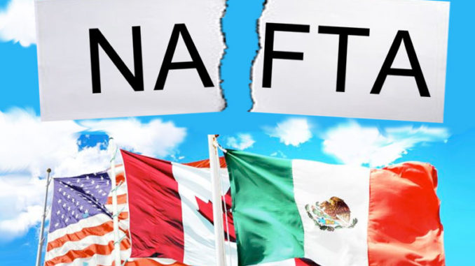 American, Canadian and Mexico flag about NAFTA