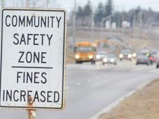 A community safety zone sign