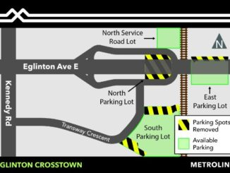 eglinton crosstown map of the parking reductions