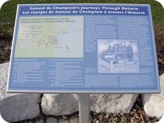 Samuel de Champlain's historic journey through Ontario plaque