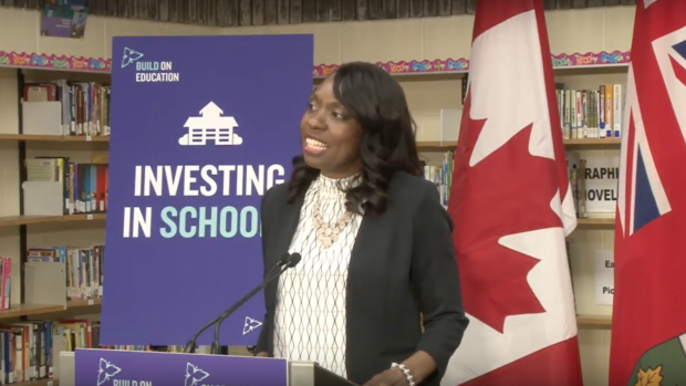 Mitzie Hunter announcing funding for school